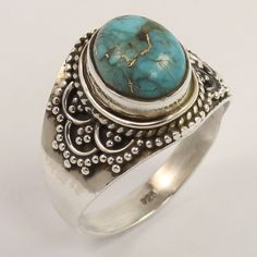BLUE COPPER TURQUOISE Gemstone 925 Sterling Silver Ring Size US 7.75 ! Wholesale…
