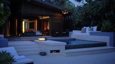 Park Hyatt Hadahaa Resort Pool Villa exterior at night Outdoor Baths, Outdoor Pool, Water Villa, Hotel Guest, Exterior Remodel, Commercial Interior Design, Patio Roof, Hotels And Resorts, House Styles