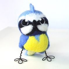 Needle Felted Bird Blue Tit £22.00   .......too cute for words.......the felt menagerie on folksy.com