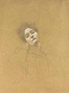 Gustav Klimt. Bust of a girl, head turned to the left