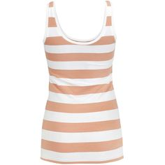 Modstrom Tanktop Tulla Beige White ($19) ❤ liked on Polyvore featuring tops, shirts, tank tops, blusas, stripe, white stripes shirt, striped tank, white singlet, white top and white tank top