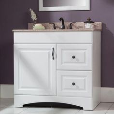 This vanity from the Regency Collection offers two extra deep, oversized, full-access drawers. European concealed adjustable hinges provide a sleek design with the ability to easily align the door.