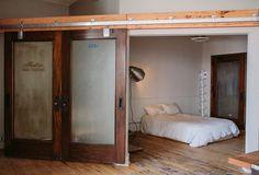 . Interior Barn Doors, Interior Exterior, Exterior Doors, Interior Design, Interior Paint, Hanging Room Dividers, Glass Barn Doors, Basement Bedrooms, Bedroom Loft