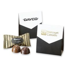 Add a formal touch to any occasion, with our pinstriped Mini Treat Pouch.  Choose a foil stamped imprint or one of our stock imprint colors. Filled with two Signature Truffles (one caramel, one chocolate) or two pieces of English Butter Toffee.