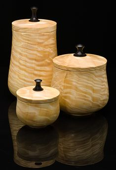 Mormon Poplar Canister Set by Mike Mahoney from Craft Supplies USA --- Amazing!! #woodturning #woodturner #woodturnerscatalog