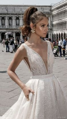 julie vino spring 2018 bridal sleeveless deep plunging v neck full embellishment romantic sexy a line wedding dress open v back royal train (05) zv -- Julie Vino Spring 2018 Wedding Dresses