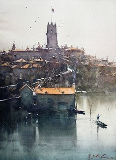 Watercolor by Joseph Zbukvic Watercolor Architecture, Watercolor Landscape Paintings, Watercolor Artists, Watercolor And Ink, Artist Painting, Watercolor Illustration, Landscape Art, Painting Lessons, Abstract Paintings
