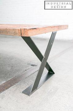 "16"" X-Style Modern Frame Legs (Raw Steel) ▫ Set of 2 Industrial Strength Table Legs ▫ 16"" Height X 16"" Length X 2.75"" Width ▫ DIY Bench Legs, Coffee Table Legs, Etc. - - Amazon.com"