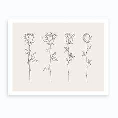 Rose Stem Tattoo, Rose Outline Tattoo, Simple Rose Tattoo, Rose Flower Tattoos, Rose Drawing Simple, Little Rose Tattoos, Rose Line Art, Rose Art, Line Art Tattoos