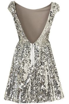 low back silver party dress. so cute!