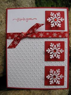 Snowflake Thank-you by catcrazy - Cards and Paper Crafts at Splitcoaststampers Stamped Christmas Cards, Simple Christmas Cards, Christmas Card Crafts, Homemade Christmas Cards, Xmas Cards, Homemade Cards, Handmade Christmas, Cards Diy, Beautiful Christmas Cards