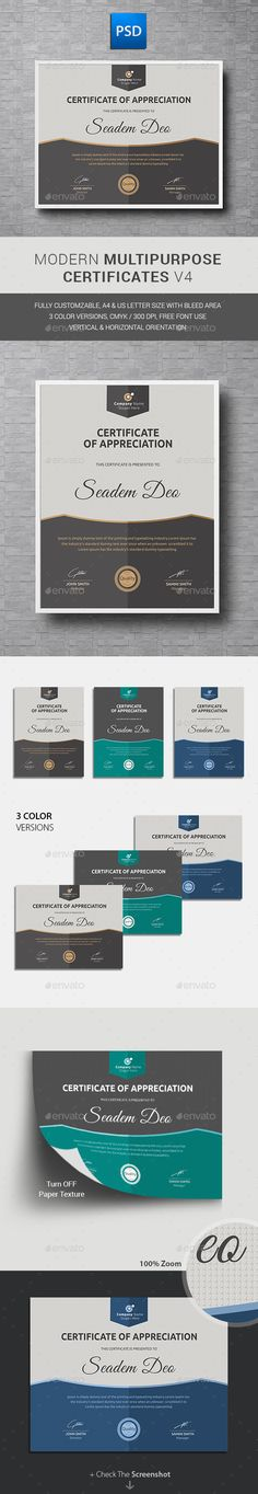 80 best diplome et certificat images on Pinterest Buy Certificate by on GraphicRiver  Quickly create a professional looking  Modern Multipurpose Certificates for any company using this template