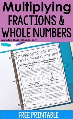 This post shares information about the two main types of situations that involve multiplying fractions and whole numbers and why teaching both types conceptually will help students. Free printable and example problem for each type included. Teaching Multiplication, Teaching Math, Teaching Ideas, Math 8, Multiplying Fractions, Dividing Fractions, Equivalent Fractions, Fraction Word Problems, Fraction Activities