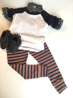 e0f40a39a85 Red and navy stripe knit leggings -baby size 12-18 months -one of a kind -  patriotic -collegiate - j