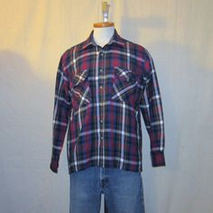 Vintage Awesome 70s PLAID FLANNEL OUTDOORS Grunge Unisex Large Soft Cozy Stylish Acrylic Button Up Shirt