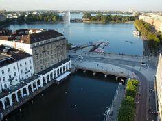 Lovely view of the Außenalster (outer Alster) and the smaller Binnenalster (inner Alster) in Hamburg