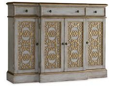 "HOOKER - foyer?  DIMENSIONS Width 54"" Depth 14"" Height 40""  The Thin Console is crafted from Poplar and Hardwood Solids with fretwork door fronts."