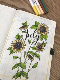 July bullet journal, sunflower theme
