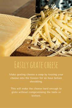 Cooking Tip: How to easily grate cheese Grated Cheese, Living A Healthy Life, How To Make Cheese, Mediterranean Recipes, Taste Buds, Butcher Block Cutting Board, Cooking Tips, Natural Remedies, Healthy Eating