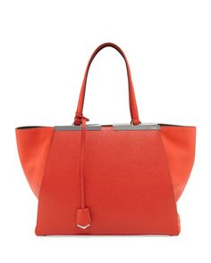 Trois Jour Shopping Grande Tote, Red Orange by Fendi at Bergdorf Goodman.