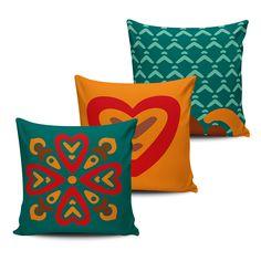 KIT com 3 Almofadas Decorativas Mandala 45x45cm - ALMAND013 - Pano e Arte