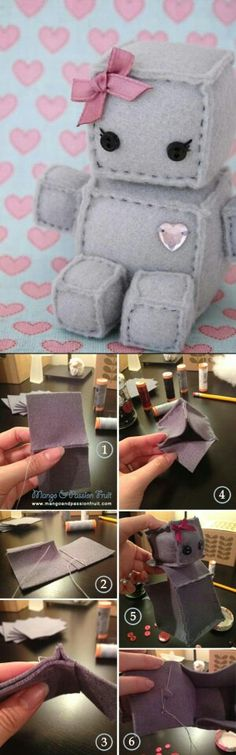 Robot Plush DIY Tutorial put velcro on sides make own toys Cute Diys, Cute Crafts, Crafts To Do, Felt Crafts, Fabric Crafts, Sewing Crafts, Sewing Projects, Kids Crafts, Arts And Crafts