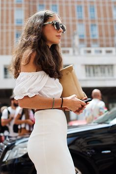 off the shoulder. Milan. #TheSartorialist