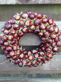 Diy chestnut wreaths (via www. Diy Fall Wreath, Autumn Wreaths, Fall Diy, Christmas Wreaths, Christmas Decorations, Holiday Decor, Christmas Ribbon, Autumn Crafts, Fall Crafts For Kids