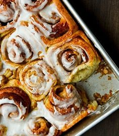 I thought about changing up a traditional cinnamon roll recipe by adding nuts or other exotic spices; but then I took a step back. What about good old-fashioned cinnamon rolls? Sure, bacon, maple, honey, Jell-O-flavored cinnamon rolls may be fun, but sometimes comfortable and easy food is even better. These are old-fashioned cinnamon rolls full of butter, sugar, and cinnamon with a simple powdered sugar glaze.
