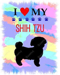 Unique Shih Tzu Art Print 8 X 10 Print by PetGifts on Etsy