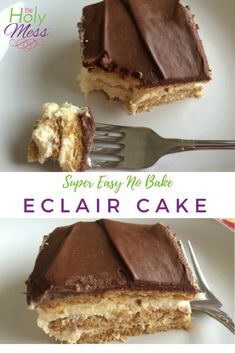 This no bake eclair cake recipe is an easy dessert to make for family or take to your next get together. Pudding, cool whip, and graham crackers combine with chocolate frosting for a treat everyone loves. No Bake Eclair Cake, Eclair Cake Recipes, Homemade Cake Recipes, Cookie Recipes, Easy To Make Desserts, Easy Desserts, No Bake Desserts, Delicious Desserts, Fudge