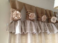 Burlap wide ruched tabs curtain- tea dyed rosette- off white burlap Burlap Drop cloth Wide ruched tabs curtains- Tea dyed rosette Burlap Curtains Tea dyedDecorative tabbed curtainSimilar products like Kitchen