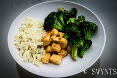 baked tofu + cauliflower rice + grilled broccoli