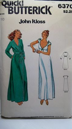 80's Retro Fitted and Flared V Neckline Nightgown, Butterick 6370 Sewing Pattern, Misses' Stretch Knit Nightgown and Wrap Long Robe Size 10