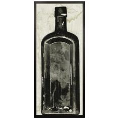 """Since Victorian times, collecting bottles has been a fascinating way to record history. During an excavation dig in Copper River, Alaska, a bottle specialist for Natural Curiosities unearthed over 60 bottles that were 200-300 years old. Christopher then reproduced the bottles into a series of images to immortalize the unique nature of all of the bottles.    Available (Framed) Black Scoop with Rubbed Edge - 1 ¾"""" or (Unframed)"""