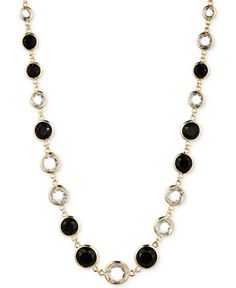 Anne Klein Gold-Tone Jet and Glass Stone Long Necklace