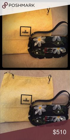Vintage 💯Authentic Fendi handbag. Denim material, flowers details. Can be dressed for evening out or worn for with jeans and white tee for lunch or shopping! Fendi Bags Shoulder Bags