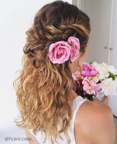 Twisted+Half+Updo+With+Flowers