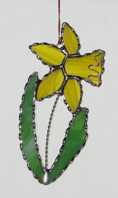 Stained Glass Suncatcher  Yellow Daffodil with Wire by GLASSbits, $24.00
