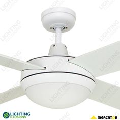 """Brushed Aluminium Grange 52"""" 1300mm Ceiling Fan with 2 x BC Light - Mercator Ceiling Fans - Ceiling Fans By Brand - Ceiling Fans - Shop - Lighting Illusions Online"""