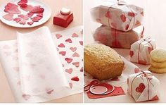 Iron tissue paper hearts (~shapes~) between 2 sheets of wax paper and wrap - clever use of wax paper!