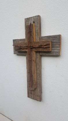 This Small Barbed Wire Rustic Cedar Wood Wall Cross Decor Barbed Wire Cross Repurposed Reclaimed Barn Wood Country Western Gift GREAT GIFT! is just one of the custom, handmade pieces you'll find in our crucifixes & crosses shops. Barn Wood Crafts, Old Barn Wood, Reclaimed Barn Wood, Barnwood Ideas, Barn Wood Decor, Barn Wood Furniture, Furniture Vintage, Industrial Furniture, Wooden Crosses
