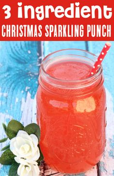 Christmas Punch Recipes for Holiday Parties! Kids and adults will LOVE this delicious sparkling punch, and you won't believe how EASY it is to make! Just 3 ingredients, and you're done! Go grab the recipe and give it a try!