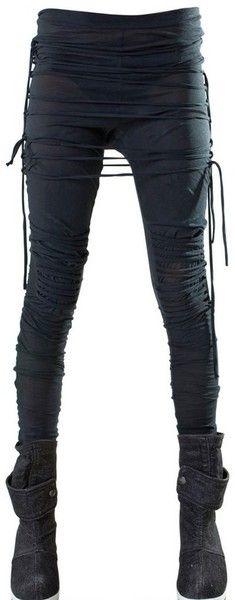 Demobaza Black Strings Cotton Jersey Leggings