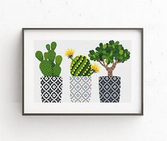 Cactus cross stitch pattern. Geometric cross stitch pattern. Natural embroidery sampler. Flower, floral cross stitch. PDF printable sampler. Modern birthday Gift No442 This is a digital item. The PDF file of the pattern will be available for instant download once payment is confirmed.