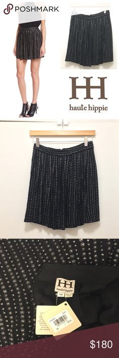 NWT Haute Hippie $595 Beaded Mini Skirt Super cute Haute Hippie black miniskirt, new with tags. Size XS.  This circle skirt is embellished with rows of beading with leather sequins. Still in stock at Neiman Marcus for $595, but I bought it at a sample sale for $225 so I'm willing to sell it for a bargain! Haute Hippie Skirts Circle & Skater