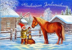 Rauhaisaa Joulunaikaa … Peaceful Christmas Time … What's a Finnish Christmas card without a Finnish horse! ... Sent by relatives in Finland