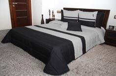 Czarno szara narzuta luksusowa na łóżko