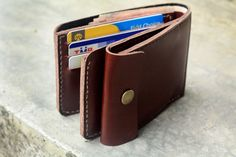 Clay brown leather wallet with mini coin pocket
