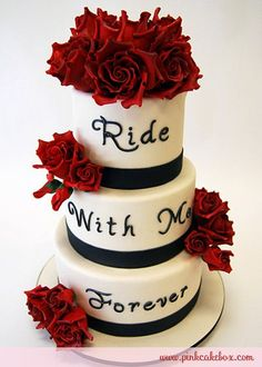 OMG I LOVE THIS CAKERed Rose Wedding Cake By Pink Box In